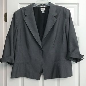 Chico's Blazer Gray with Black Piping Size 3
